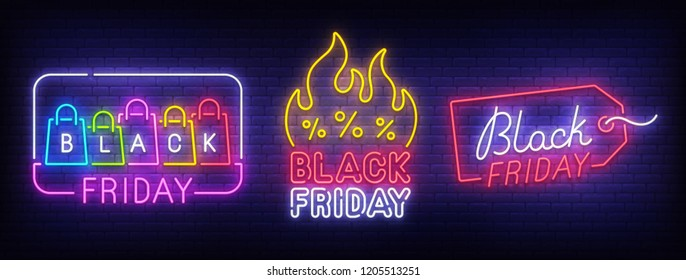 Big set neon billboard, theme Black Friday. Discount. Big sale. Cyber Monday logo, label and emblem. Neon sign, isolated sticker, bright signboard, light banner.