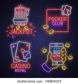 Big set neon logo, label, emblem. Casino, Slot Machines and Poker. Neon sign, bright signboard, light banner.