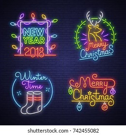 Big set neon logo, label, emblem. Happy New Year and Merry Christmas. Neon sign, bright signboard, light banner.
