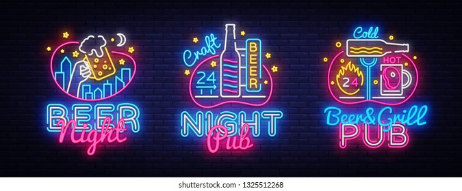 Big set neon signboard, theme Beer. Beer Pub Neon Banner Vector. Design template, modern trend design, night light signboard, night bright advertising. Vector illustration