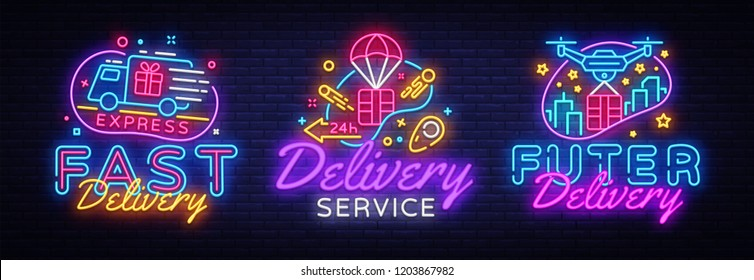 Big set neon signs, theme Delivery. Fast delivery neon signs, design template, modern trend design, night neon signboard, night bright advertising, light banner, light art. Vector illustration