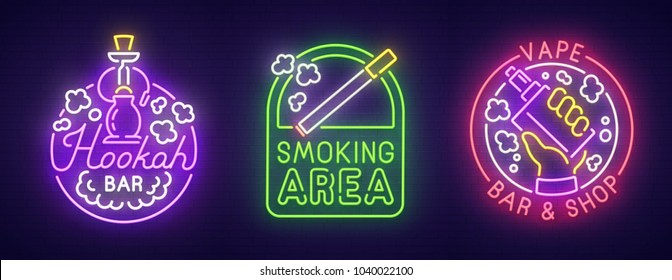 Big set neon sing. Smoke, Vape and Hookah bar . Smoking banner, logo, emblem and label. Bright signboard, light banner. Vector illustration