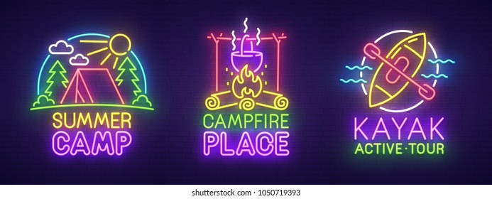 Big set neon sing. Summer camping label and logo. Kayak banner, logo, emblem and label. Bright signboard, light banner. Vector illustration