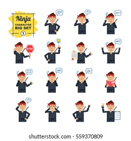 Big set of ninja emoticons showing different actions, gestures, emotions. Cheerful ninja talking on phone, holding stop sign, document, book and doing other actions. Simple vector illustration