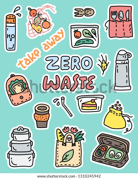 Big set of objects for stickers and patches. Zero waste take away symbols. Cartoon style illustration