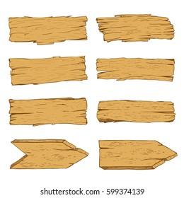Big set of old wood planks. Vector Illustration.