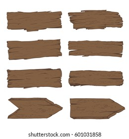 Big set of old wood planks. Vector Illustration.