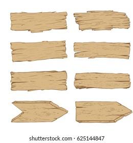 Big set of old wood planks. Light colored wood. Vector Illustration.