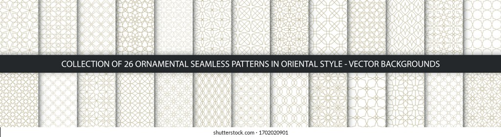 Big set of oriental patterns. White and gold background with Arabic ornaments. Patterns, backgrounds and wallpapers for your design. Textile ornament. Vector illustration.