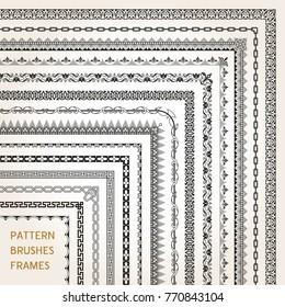 Big set of ornamental corners border frame line pattern brushes 1 vector