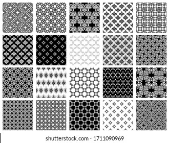Big set ornamental seamless. Collection of geometric patterns in oriental style. Vintage background traditional Ottoman motifs. Decorative backgrounds with mosaic ethnic motifs. Vector