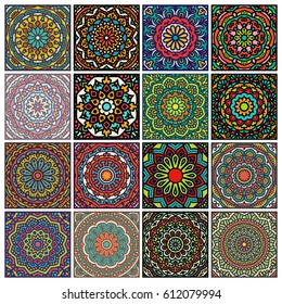 Big Set Of Ornate Patterns. 16 Elements For Your Design. Collection Of Colorful Ornamental Card With Mandala.Kaleidoscope, Yoga, India Symbols.