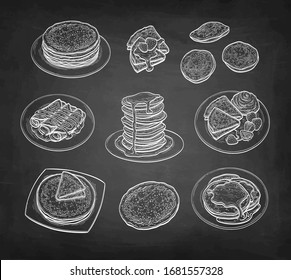 Big set. Pancakes and French crepes or Russian blinis with strawberries and syrup. Chalk sketch on blackboard background. Hand drawn vector illustration. Retro style.