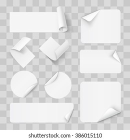 Big Set of Paper Sticker on Transperent Background