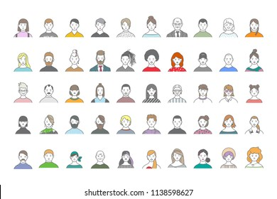 Big set of people avatars for social media, website. Line art portraits fashionable girls and guys. Icons collection.