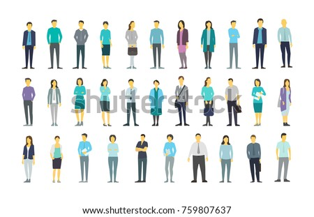 Big set a lot of people bundle kit in line clerks many crowd. The company staff. Stock vector illustration transparent white background