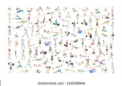 Big set of people doing exercises in the gym. Fitness and healthy lifestyle. Lifting weights, doing yoga and aroebics. Muscle bulding. Isolated flat vector illustration