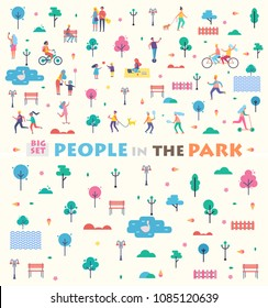 Big set people in park icons and headline couple with guitar, green trees, swan on lake, tennis game, cycling together isolated on vector illustration