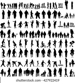 Big set of people silhouettes, children, parents, seniors. Family group, couples vector silhouette illustration isolated on white background. Fathers day. Fat person. Older people health care activity