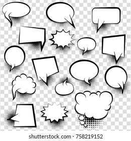Big set picture blank template pop art style comic text speech bubble halftone dot background. Comics book dialog empty cloud, space cartoon box pop-art. Creative idea conversation sketch explosion