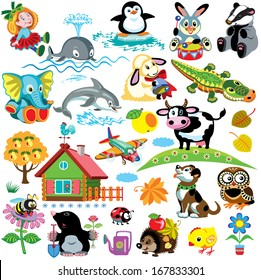 big set with pictures for babies and little kids.Cartoon images isolated on white background.Children illustration