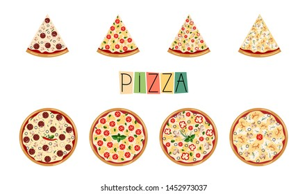 Big set pizza. Traditional different ingredients. Italian whole pizza with slices: Margarita, seafood, vegetarian, pepperoni. Vector illustration for menu, banner, flyer, brochure on white background.