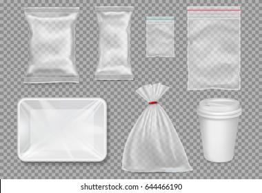 Big set of plastic packaging - sacks, tray, cup. Vector.