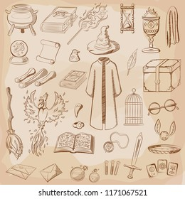 Big set to play a wizard. Things magician: wizard, hat, magic book, scroll, potion, broom, crystal ball, mantle, sword, cup, ring, chest, fang, Phoenix, hourglass, mantle of invisibility, card