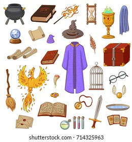 Big set to play a wizard. Things magician: wizard, hat, magic book, scroll, potion, broom, crystal ball, mantle, sword, snitch, cup, ring, chest, fang, Phoenix, hourglass, mantle of invisibility, card