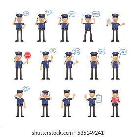 Big set of policeman characters showing different actions. Cheerful police officer talking on the phone, holding stop sign, document, clipboard, book and doing other actions. Flat vector illustration