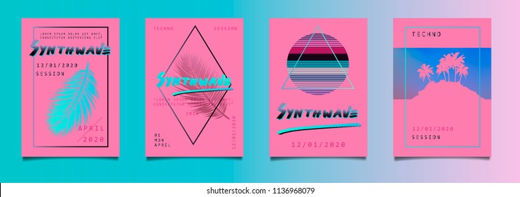 Big set of posters for music festival with palm trees and leaves. Vaporwave/ seapunk/ synthpop style.