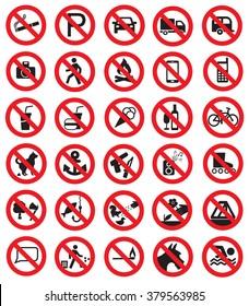 Big set of prohibition signs
