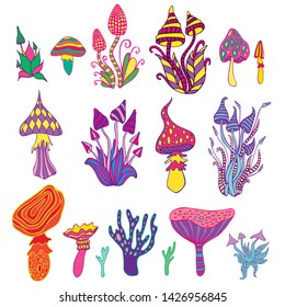 Big set psychedelic artistic abstract trippy mushrooms, white background. Colorful hallucinogenic fantasy mushrooms, each mushroom has its own pattern. Creative vector hand drawn doodle style.