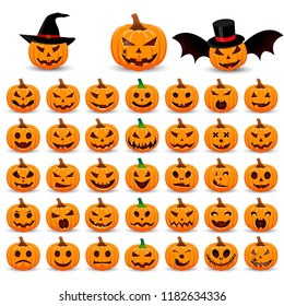 Big set pumpkin on white background. The main symbol of the Happy Halloween holiday. Orange pumpkin with smile for your design for the holiday Halloween. Vector illustration.
