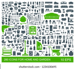 Big set of quality icons household items. Furniture, kitchenware, appliances, child care, garden. 280 Flat vector icon