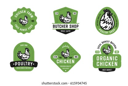 Big Set of Quality Vintage Chicken Emblems, Badges and Logo designs. Hen Vector Illustration. Great for Farms, Poultry Business, Organic Foods, Butchery, Meat Stores, Restaurants etc.