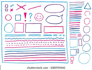 Big set of real lines and shapes drawn blue and pink crayons. Isolated on white background. Use for highlighting and underline of texts and elements in letter, presentation, form etc. Vector eps 10.