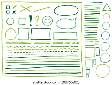 Big set of real lines and shapes drawn green crayons. Isolated on white background. Use for highlighting and underline of texts and elements in letter, presentation, form etc. Vector eps 10.