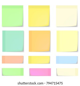 Big set of realistic blue, pink, yellow, green and white memo stickers with shadow and curled corner mockup. Vector colorful sticky notes paper sheets templates, reminders