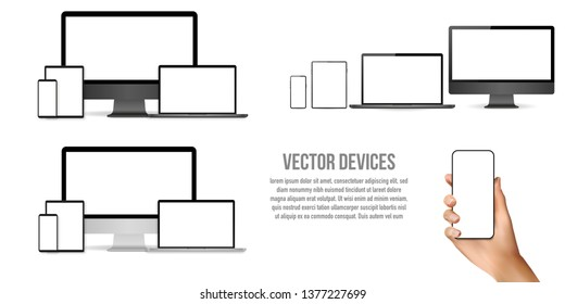 Big set of realistic devices. Mock ups monitor, laptop, phone, tablet isolated on transparent background. Realistic hand is holding a phone
