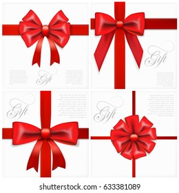 Big Set Of Realistic Gift Card With Red Bow And Ribbon Template. EPS10 Vector
