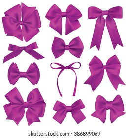 Big set of realistic purple gift bows and ribbons