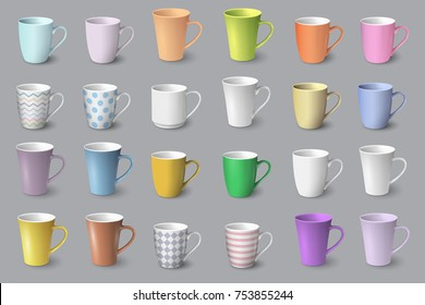 Big set of realistic white and colored cups. Mugs isolated on grey background. Vector template for Mock Up. Vector collection