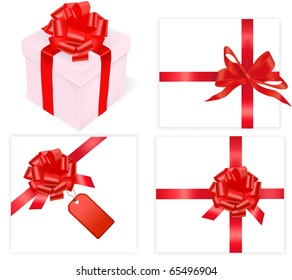 Big set of red bows and box. Vector illustration.