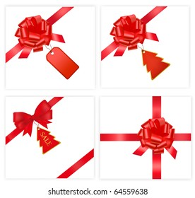 Big set with red bows with cards. Vector illustration.