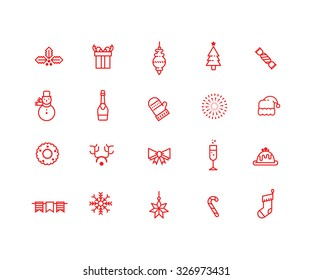 Big set of red Christmas and New Year icons on white background. Linear, outlined, simple
