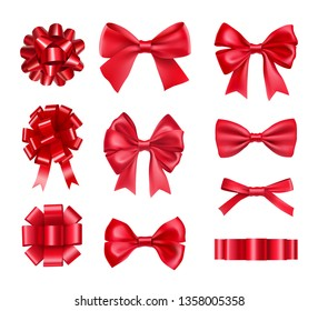 Big set of red gift bows with ribbons isolated on white background. Realistic decoration for holidays presents and cards. Elegant object from silk vector illustration. Christmas or birthday decor.