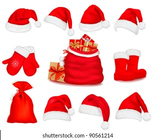 Big set of red santa hats and clothes and a gift bag. Vector illustration.