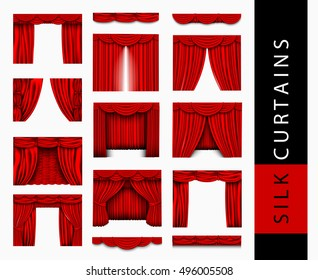 Big set of red silk curtains and Pelmet