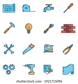 Big set of repair house 16 icon, concept renovation tool stuff instrument toolkit line art flat vector illustration, isolated on white. Reconstruction building equipment, construction object.